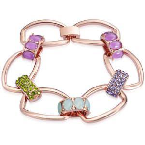 bratara-flower-placata-cu-aur roze-cu-elemente-Swarovski